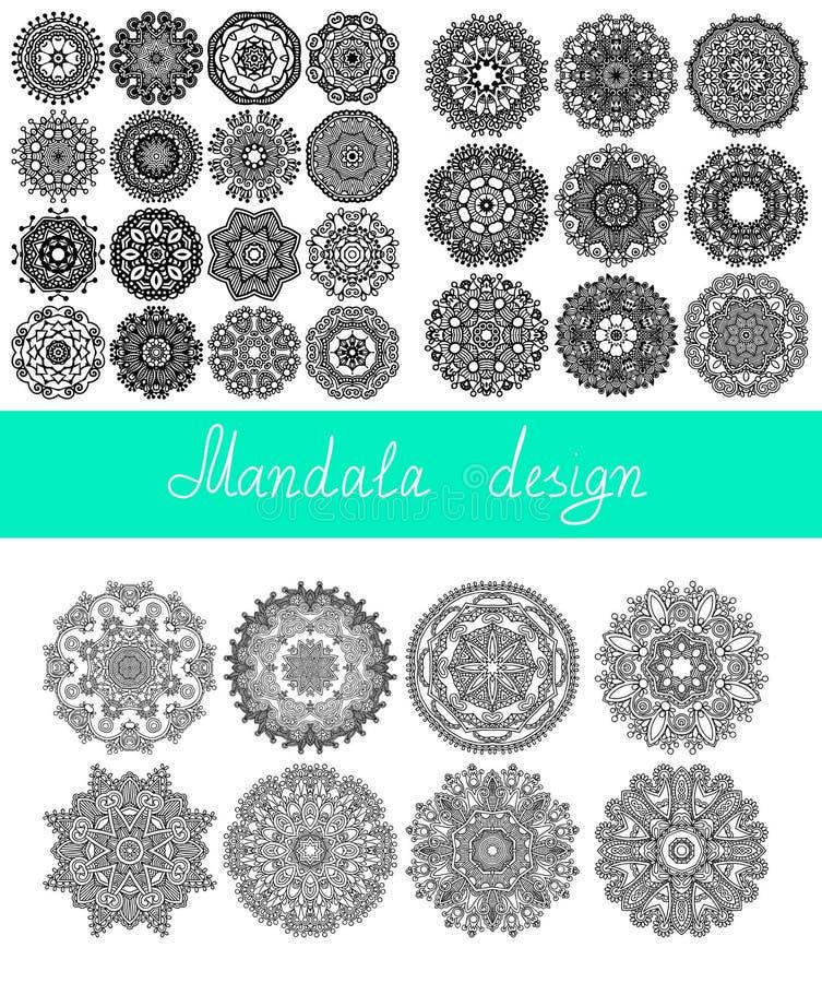 Set of 33 mandala design, circle ornament royalty free illustration