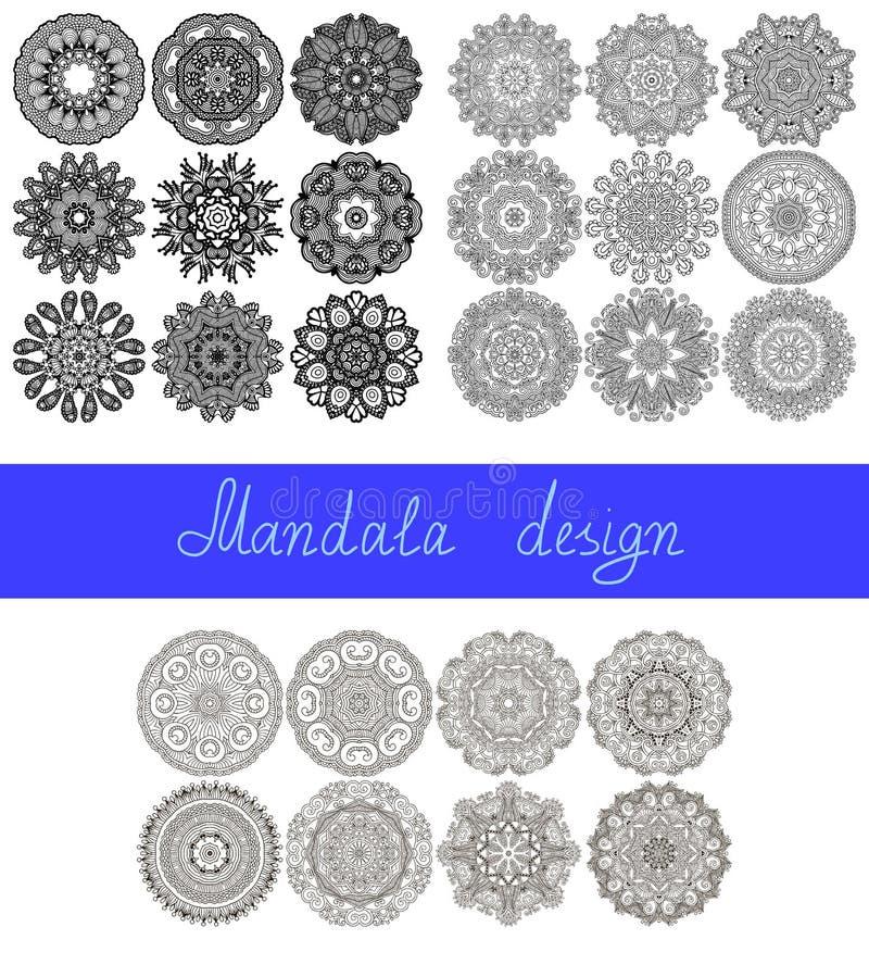 Set of 26 mandala design, circle ornament vector illustration