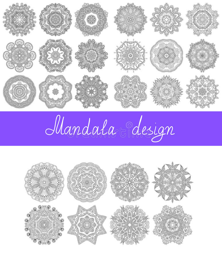 Set of 26 mandala design, circle ornament stock illustration