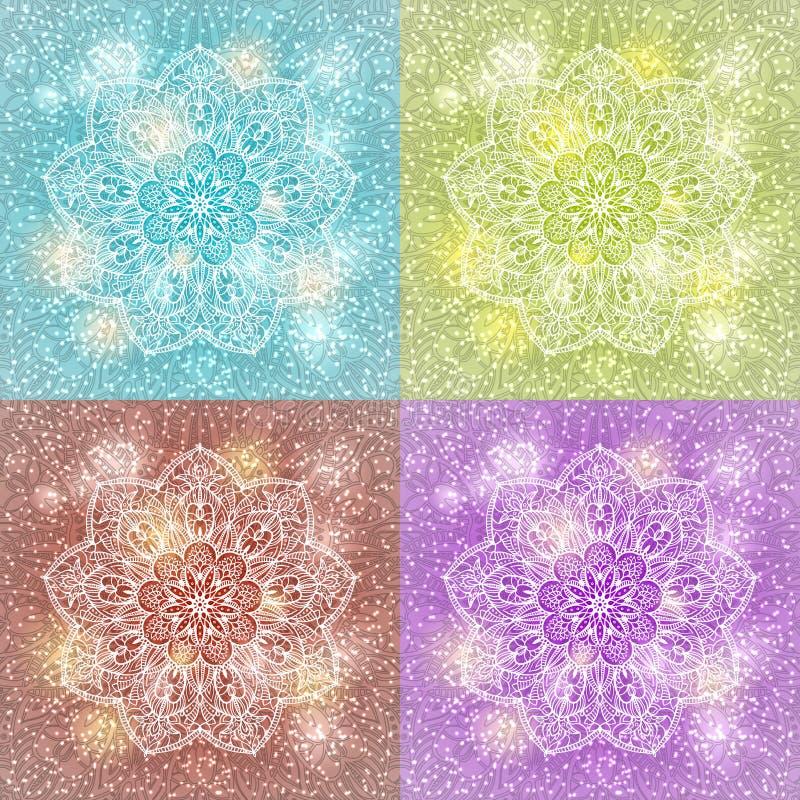 Set of mandala snowflake background royalty free illustration
