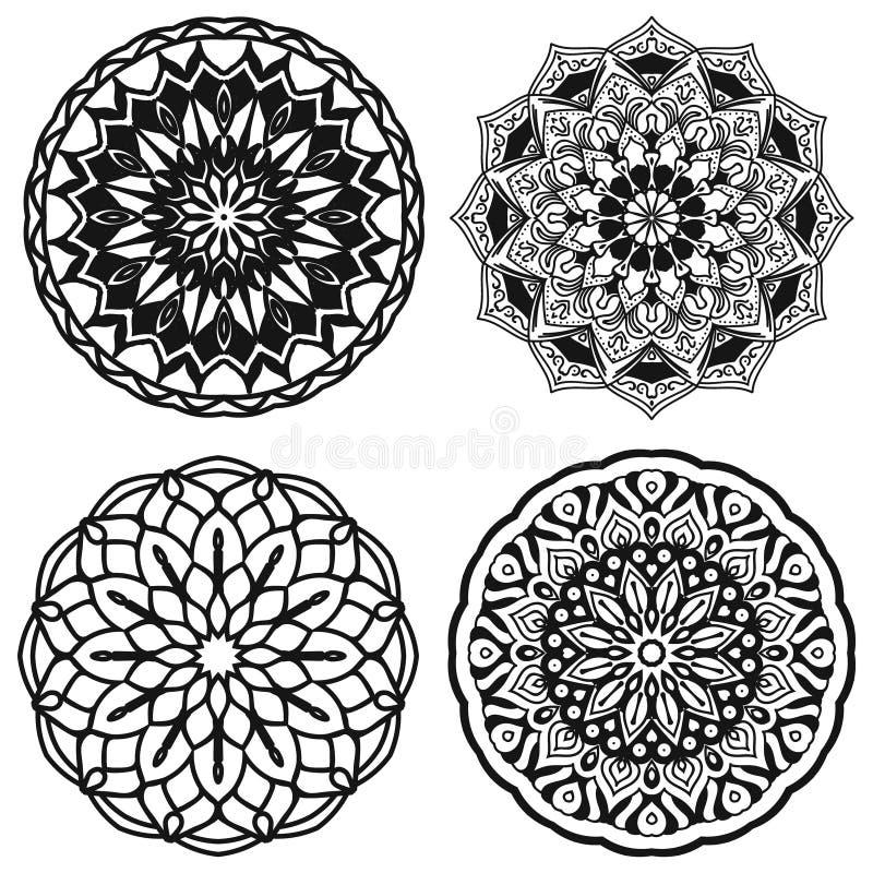 Set mandalas czarny i biały wektorowa ilustracja ilustracji