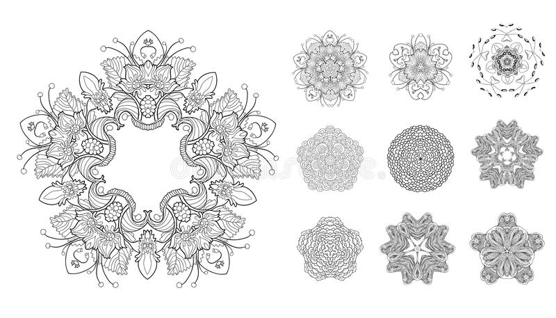 Set of mandalas royalty free illustration