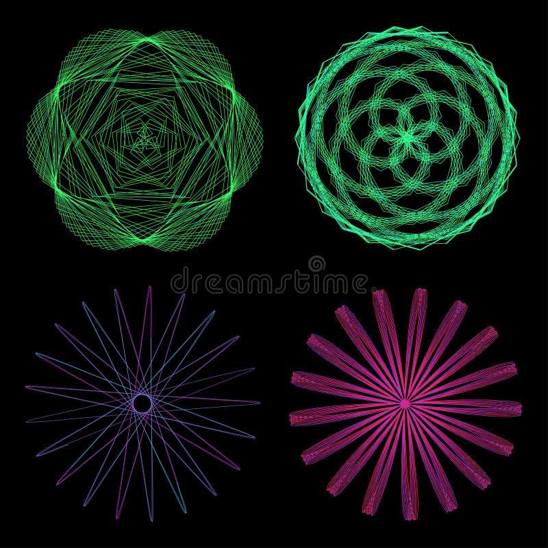 Set of mandalas. The ornament, a circular geometric pattern, frames, spirogram. vector illustration