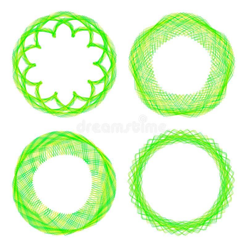 Set of mandalas. The ornament, a circular geometric pattern, spirogram. stock illustration
