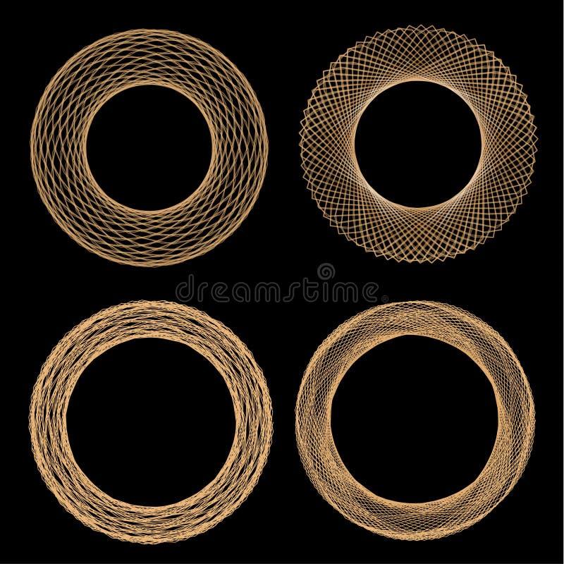 Set of mandalas. The ornament, a circular geometric pattern, spirogram. royalty free illustration