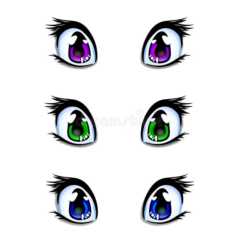 Set of manga, anime style eyes in green, blue and lilac colors. Set of realistic human manga, anime style eyes in green, blue and lilac colors for design or royalty free illustration