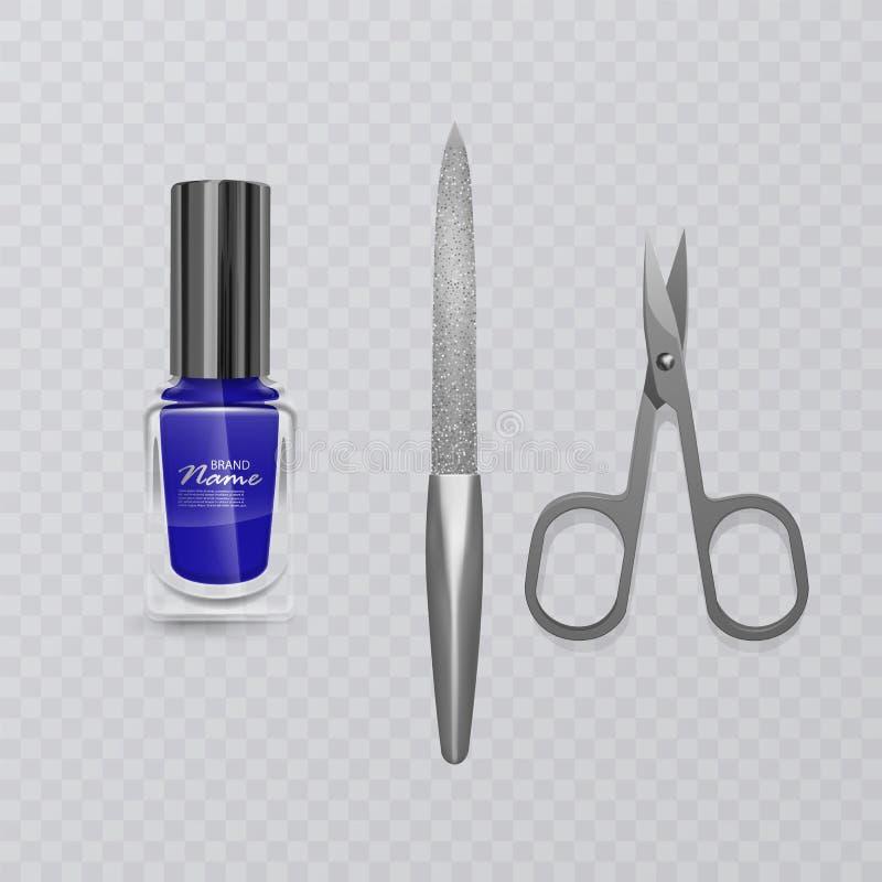 Set manicure akcesoria, ilustracja manicure nożyce, błękitny gwoździa połysk i gwóźdź kartoteka, ręki opieka, wektor eps 10 ilustracji
