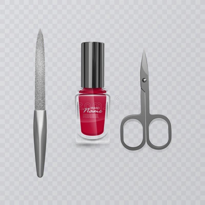 Set manicure akcesoria, ilustracja manicure nożyce, czerwony gwoździa połysk i gwóźdź kartoteka, ręki opieka, wektor eps 10 ilustracja wektor