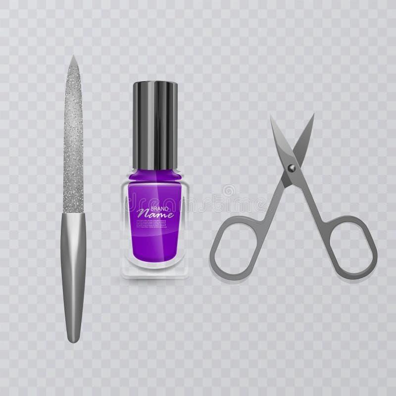 Set manicure akcesoria, ilustracja manicure nożyce, purpurowy gwoździa połysk i gwóźdź kartoteka, ręki opieka, wektor eps ilustracji