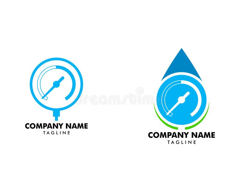 Set of Manometer icon  pressure gauge flat sign symbols logo royalty free illustration