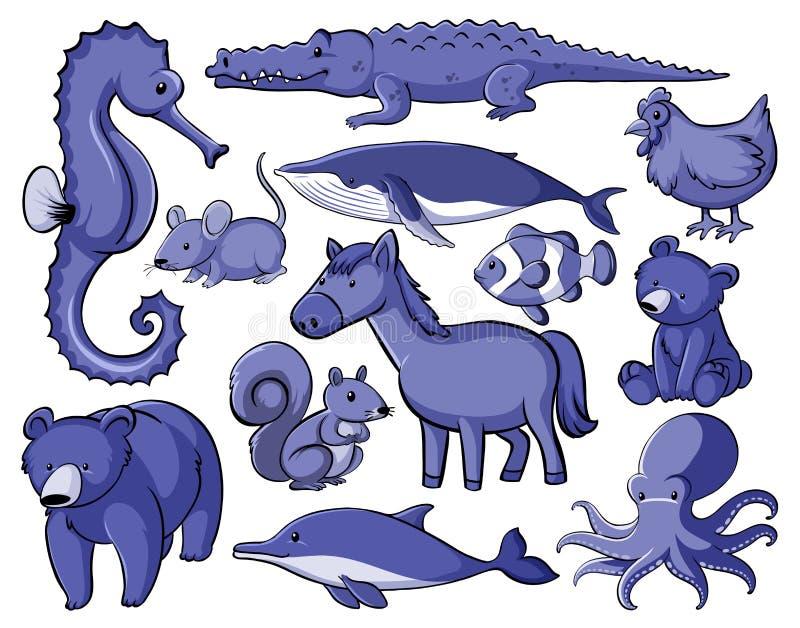 Set of many animals in blue vector illustration