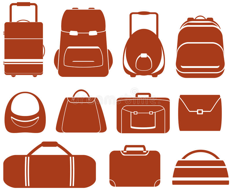 Set red isolated bag royalty free illustration