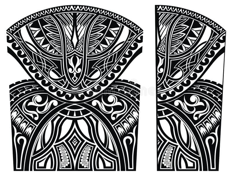 Set maorysa stylu ornamenty Ciało tatuaż royalty ilustracja