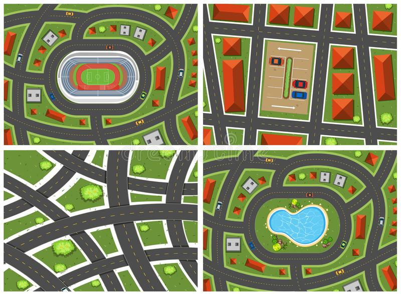 A Set of Map Ariel View. Illustration stock illustration
