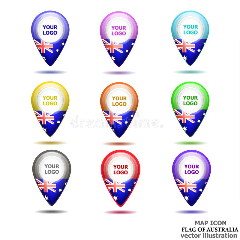 Set of map icons with flag of Australia. Vector illustration. stock illustration