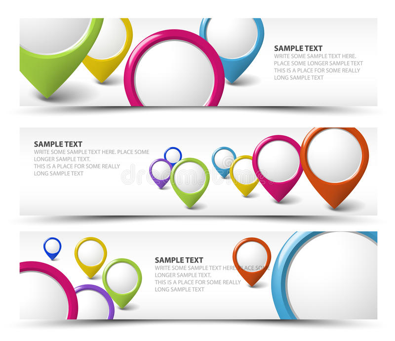 Set of map locator horizontal banners