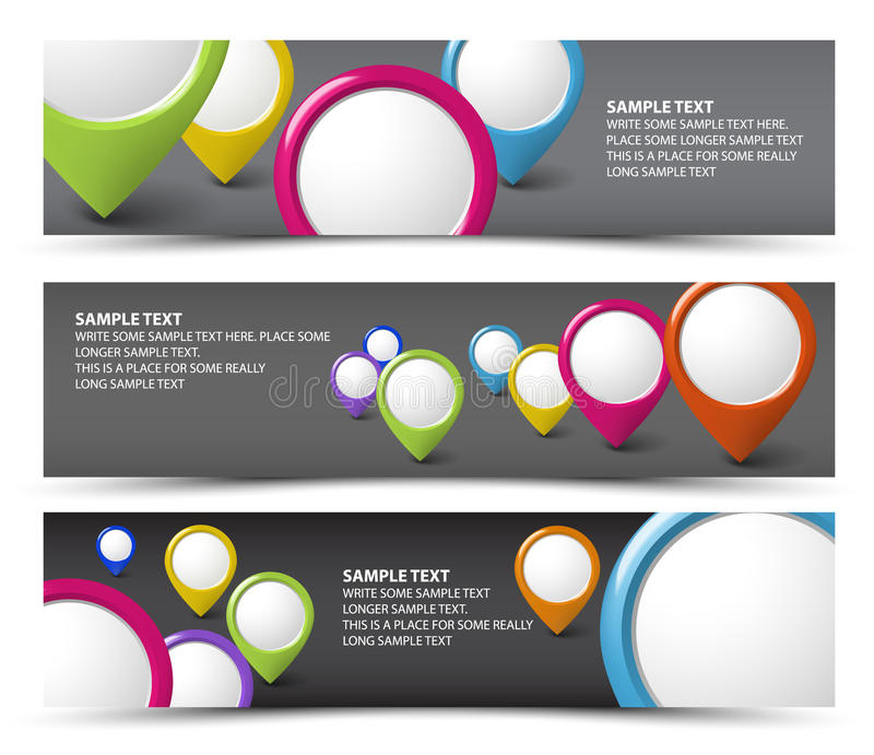 Download Set Of Map Locator Horizontal Banners Stock Vector - Illustration: 24877598