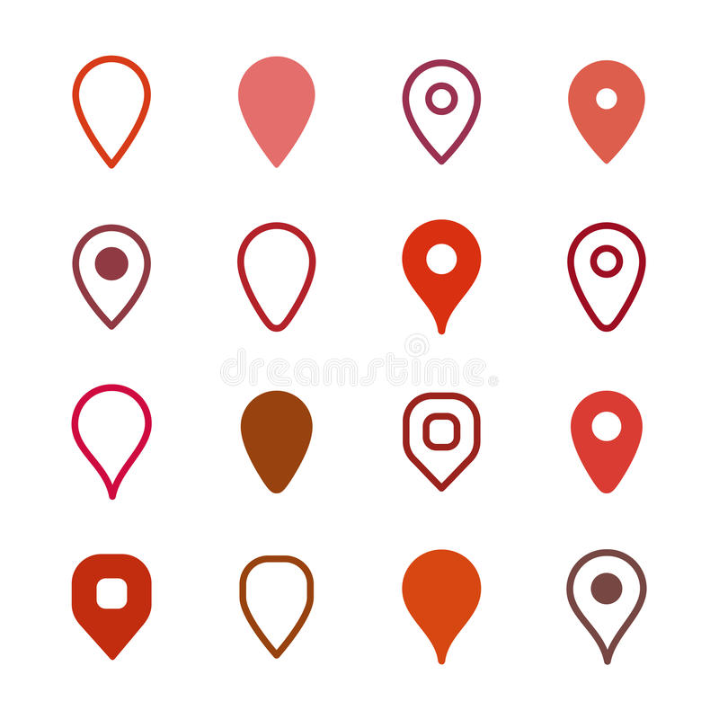 Set of map markers royalty free stock photography