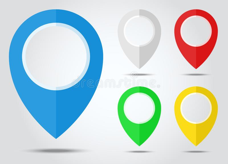 Set of Map markers, map pins, pointer elements. 5 colors, orange, blue, green, red, white. Location, address, destination, geo loc. Set of Map markers, map pins royalty free illustration