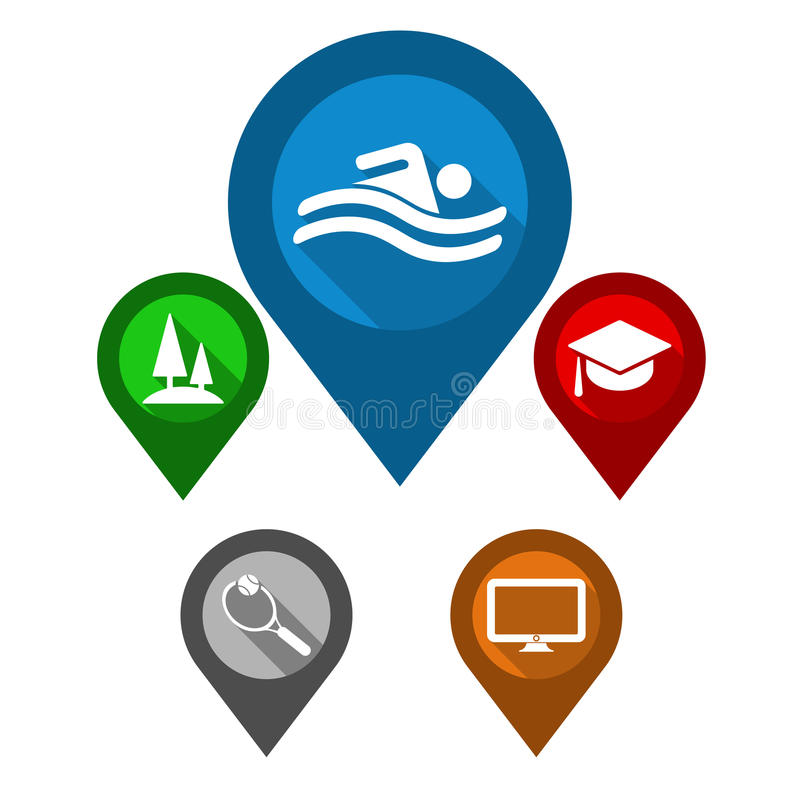 Set map pointers / blue pin pool / green pin park / red p vector illustration