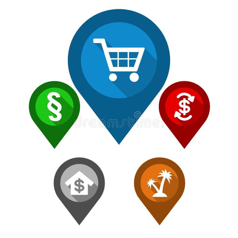 Set map pointers / blue pin shop / green pin paragraph / stock illustration