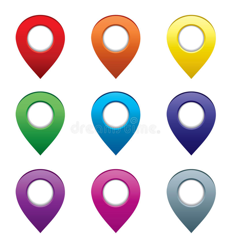 Set Of Map Pointers Royalty Free Stock Photography