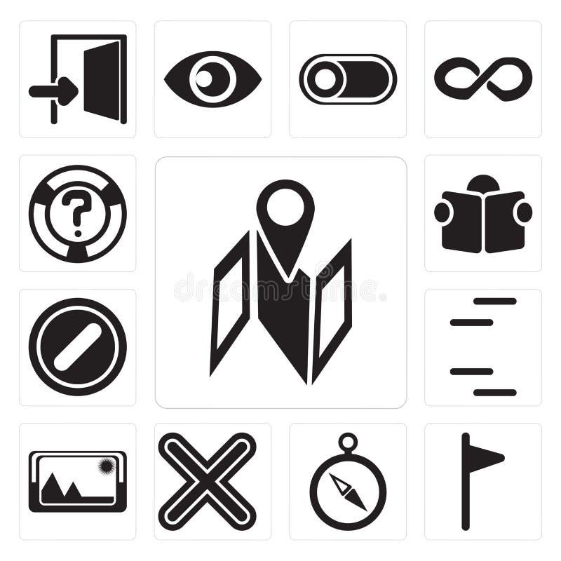 Set mapa, flaga, kompas, Mnoży, Obrazuje, linie, Zakazywać, royalty ilustracja