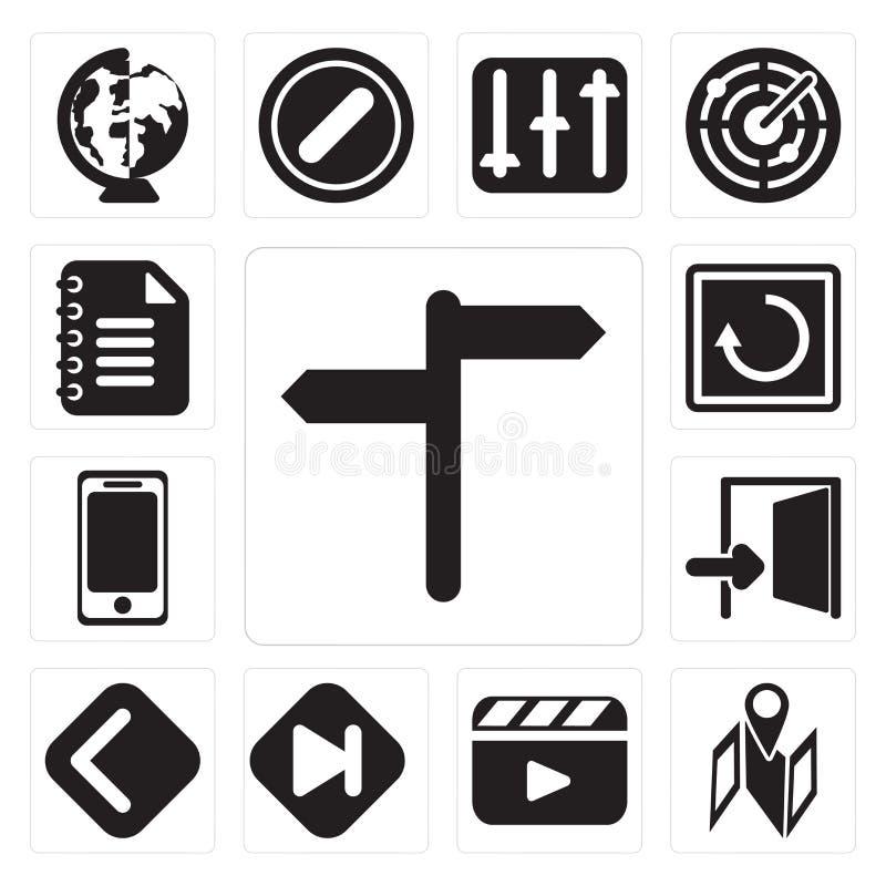 Set, mapa, odtwarzacz wideo, pominięcie, plecy, wyjście, Smartphone, wznowienie ilustracji