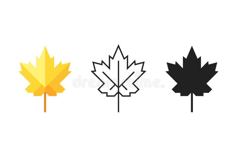 Set Of Maple Leaf Icons. Silhouette, Colorful Flat And Outline One With Editable Stroke. Stock Vector stock illustration
