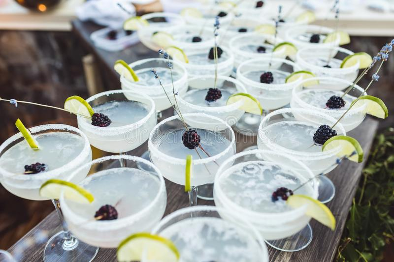 Set of Margarita cocktails with slice of lime. And blackberry on top on bar counter. Evening patry, wedding reception royalty free stock photography