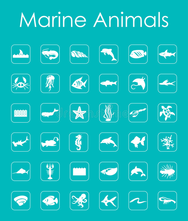 Set of marine animals simple icons. It is a set of marine animals simple web icons stock illustration