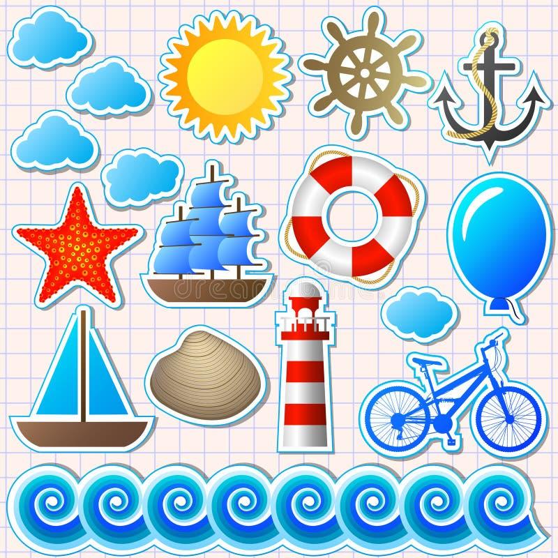 Set Of Marine Elements Royalty Free Stock Photo