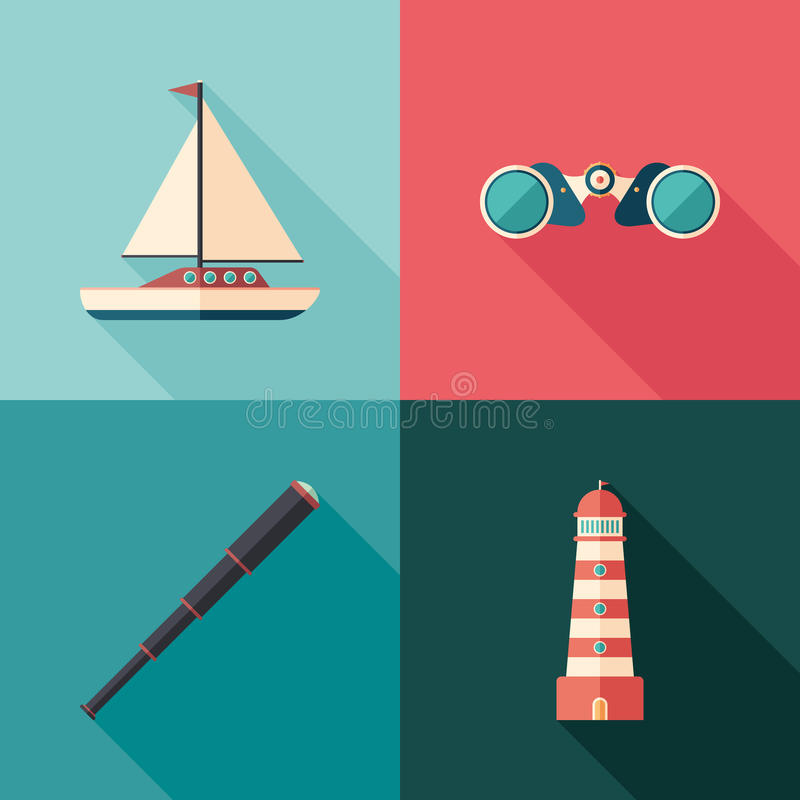 Set of marine flat square icons with long shadows. royalty free illustration