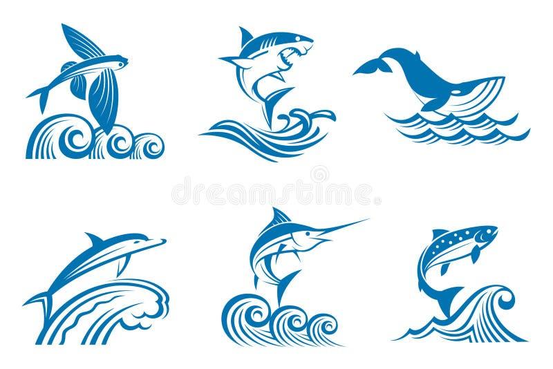 Set of marine life on waves vector illustration
