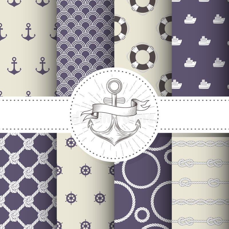 Set of marine and nautical backgrounds - sea theme patterns royalty free illustration
