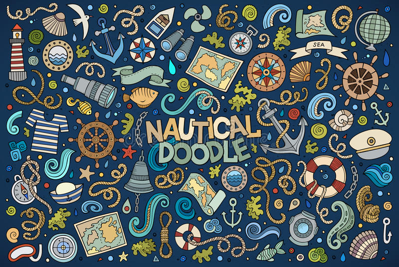 Set of marine, nautical objects and symbols. Colorful vector hand drawn Doodle cartoon set of marine, nautical objects and symbols vector illustration