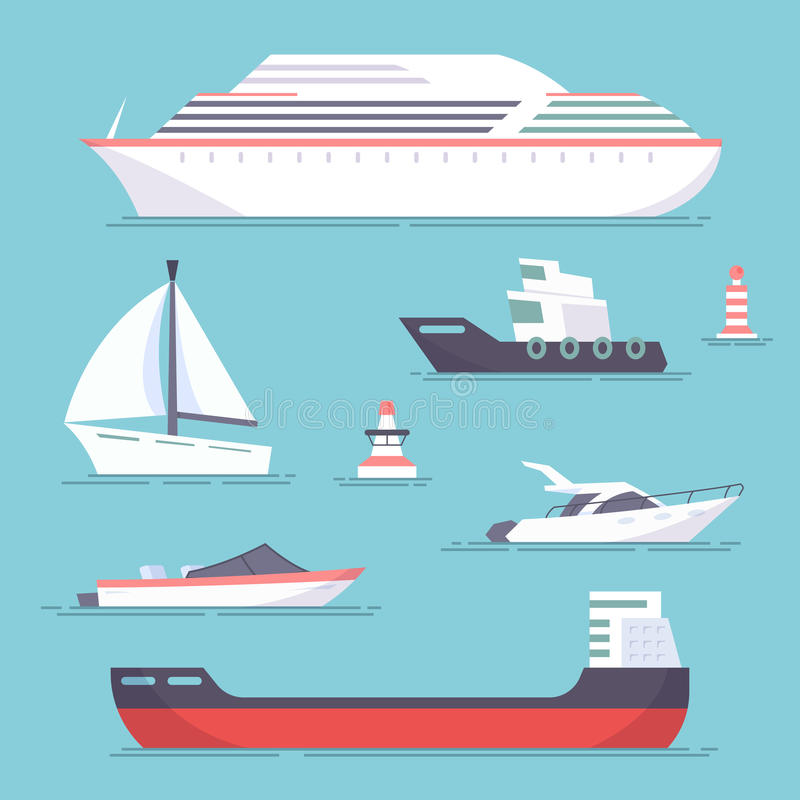 Set of marine ships, boats, yachts and sailing tanker. Marine buoy. Vector, illustration in flat style isolated on blue vector illustration