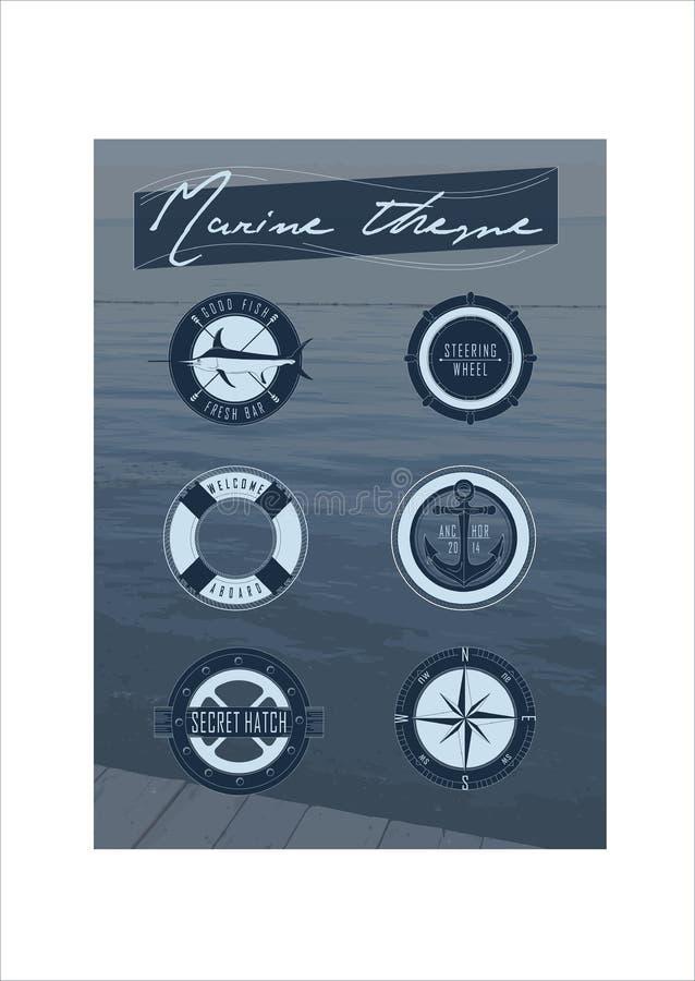 Set: Marine theme royalty free stock photos