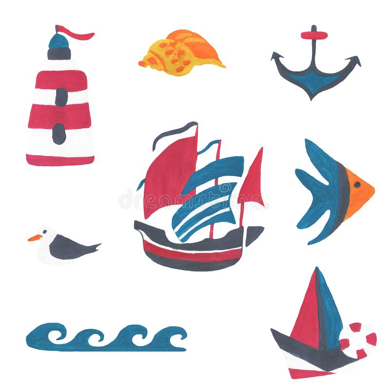 Set on the marine theme, the journey. Gouache and watercolor vector illustration