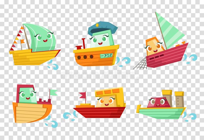 Flat vector set of marine vessels with adorable faces. Small wooden ships and sailing boats. Elements for children book vector illustration