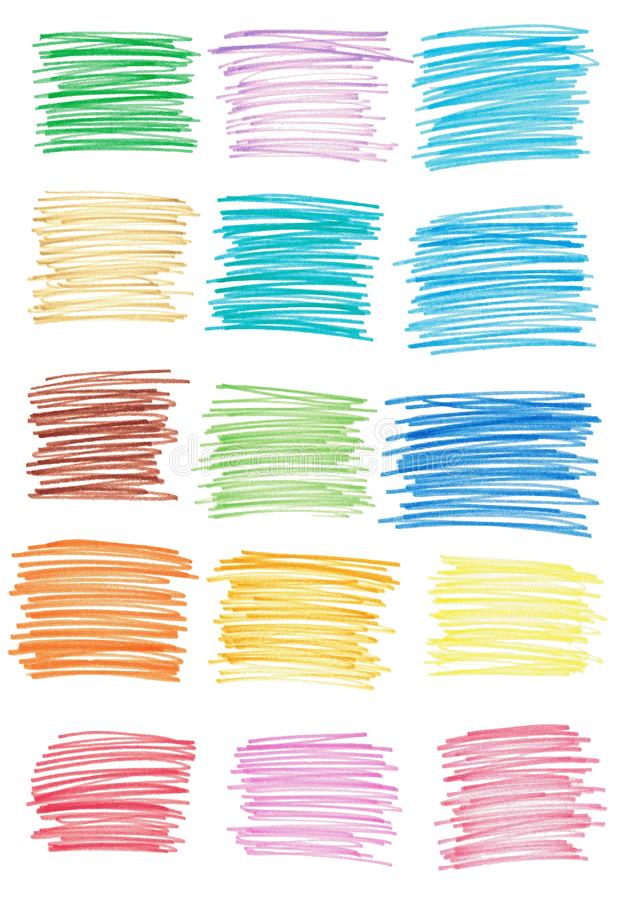 Set of marker strokes of different colors. Isolated hand drawn illustrations for design.  royalty free illustration