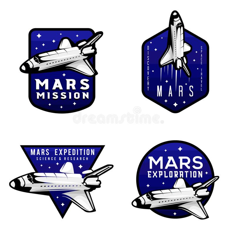 Set of mars exploration mission logotypes concepts royalty free illustration