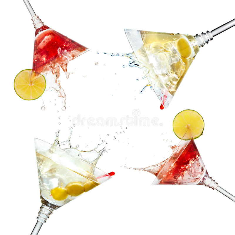 Set of martini cocktails with splash and lime royalty free stock photography