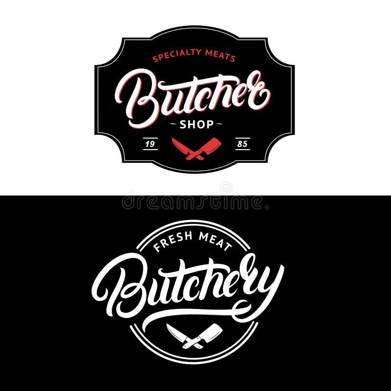 Set masarka sklep i Butchery wręczamy piszemy pisać list loga, etykietka, odznaka, emblemat royalty ilustracja