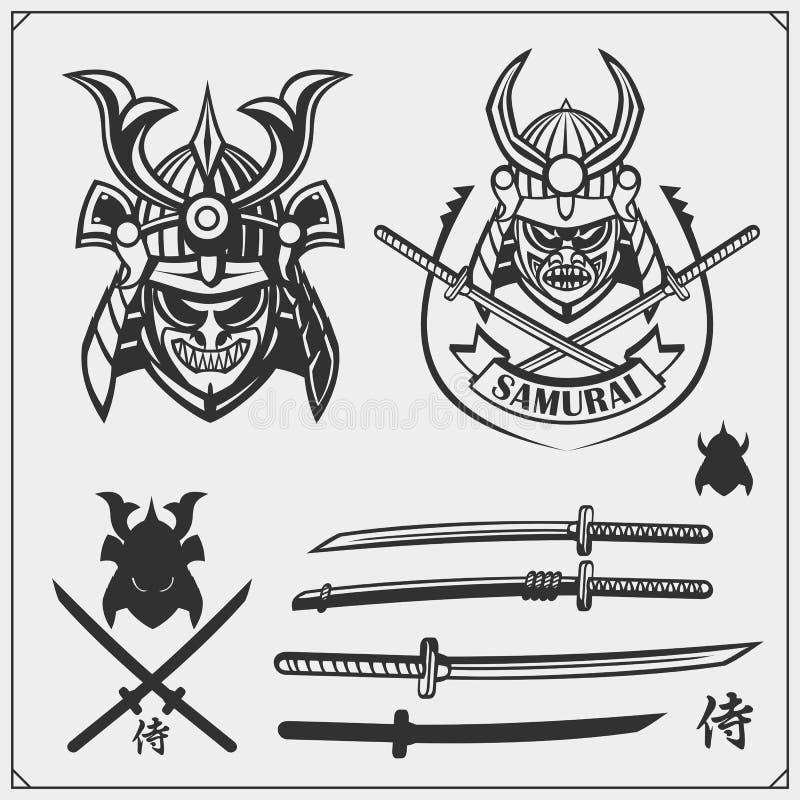 Set maski, opancerzenie i broń samuraja wojownika, Japońscy wojowników emblematy, etykietki, odznaki i projektów elementy, ilustracji