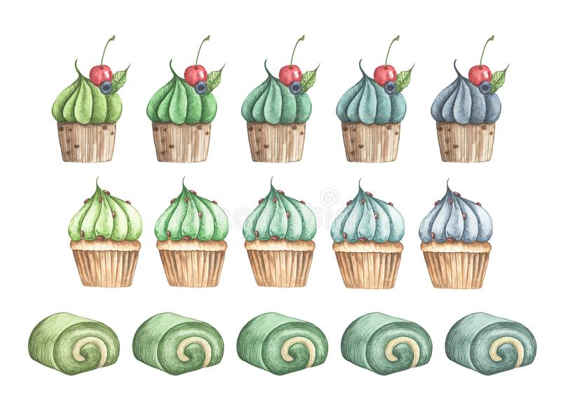 Set of Matcha desserts, Roll cake and Cupcakes. vector illustration
