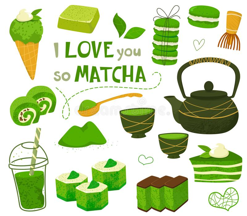 Set of different tea products of the matcha. Matcha powder, macarons, ice cream, cake, bamboo spoon, teapot, drink, sweets,tea, te. A leaves. Hand drawn vector vector illustration