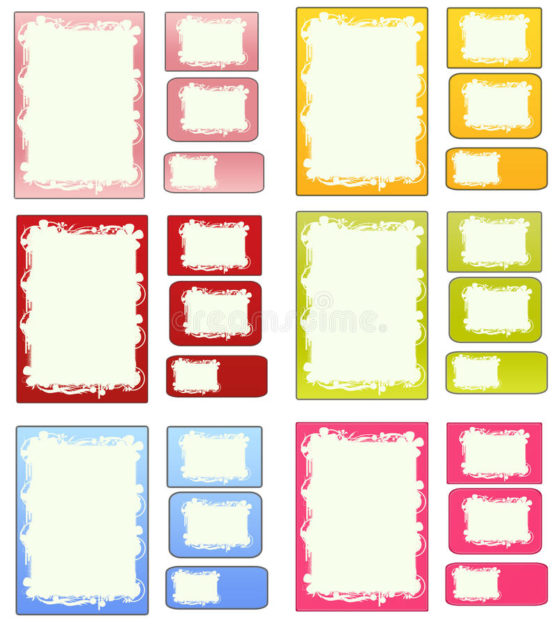Set of matching papers cards and labels vector illustration