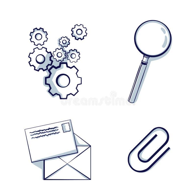 Set materiały ikona Przekładnia, papierowej klamerki znak, powiększa - szkło, email ilustracji