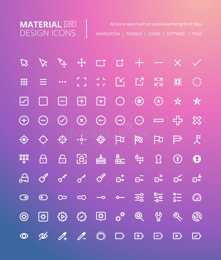 Set of material design line icons royalty free illustration